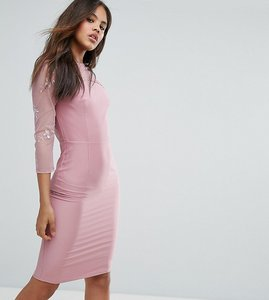 Read more about Little mistress tall mesh lace sleeve pencil dress - mauve