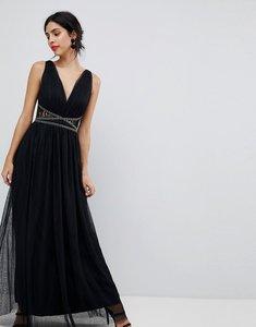Read more about Little mistress lace back maxi dress - black