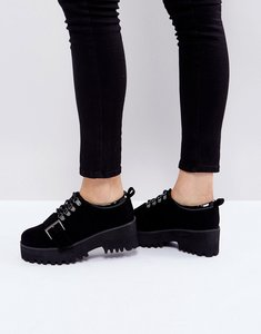 Read more about Asos out of bound hiker heeled shoes - black