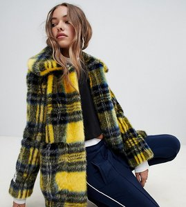 Read more about Jakke mid length faux fur coat in check - yellow check