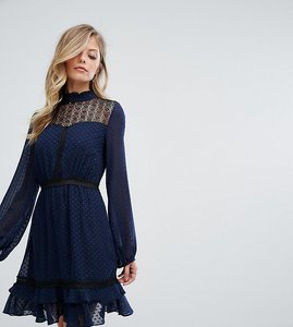 Read more about Dark pink lace long sleeve skater dress - navy