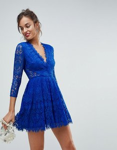 Read more about Asos long sleeve lace mini prom dress - cobalt