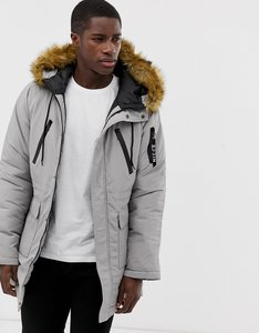 Read more about Nicce london parka in grey with faux fur hood - grey