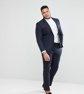 Read more about Noak plus skinny wedding suit trousers in grid check - navy