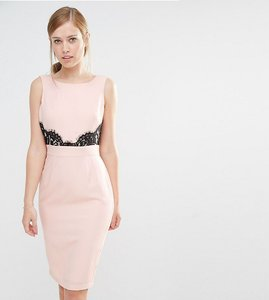 Read more about Elise ryan v back pencil dress with lace trim - nude black