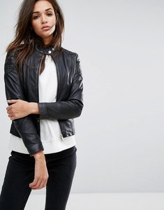 Read more about Goosecraft collarless leather jacket with quilted detail - black