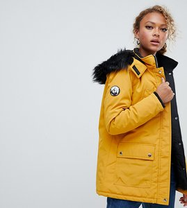 Read more about New look parka coat in mustard with faux fur hood