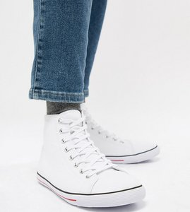 Read more about Asos design wide fit mid top plimsolls in white canvas - white