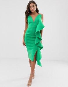 Read more about Lavish alice draped frill scuba midi dress in green
