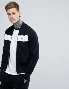 Read more about Fred perry zip through panel bomber sweat jacket in black - 102