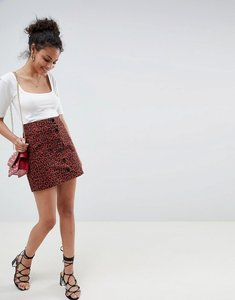 Read more about Miss selfridge a-line skirt with button front in leopard print - leopard