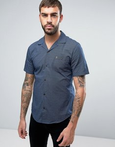 Read more about Farah trebant short sleeve shirt stripe print revere collar slim fit in navy - yale