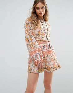 Read more about Free people cut away silver sun print mini dress - washed ivory combo