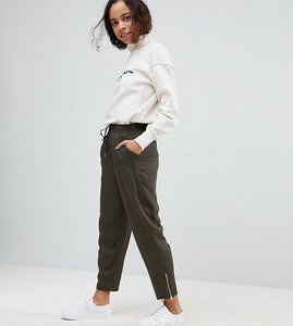 Read more about Asos petite tapered twill jogger with zip ankle - khaki