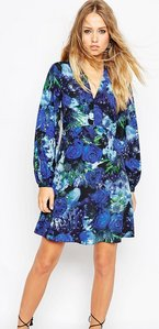 Read more about Needle thread enchanted floral print skater dress with bell sleeve - elixir print