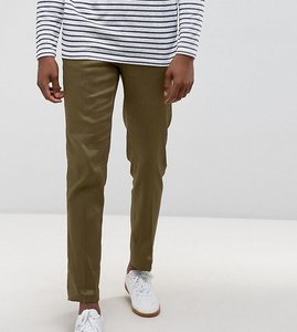 Read more about Asos tall skinny cropped smart trousers in khaki linen mix - khaki