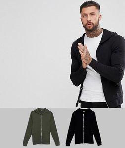 Read more about Asos muscle zip up hoodie 2 pack black khaki save - black beetlejuice