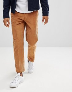 Read more about Asos straight crop smart trousers in tan cord - brown