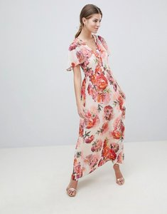 Read more about Oasis rose print angel sleeve maxi dress - multi