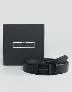 Read more about Asos made in england smart slim belt in black leather - black