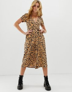 6ba89c1e39 Read more about Asos design pleated skirt midi dress with button detail in  animal print