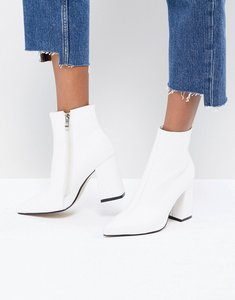Read more about Public desire empire white block heeled ankle boots - white