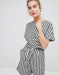 Read more about Warehouse thick stripe playsuit - cream