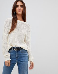 Read more about Missguided plunge v back knitted jumper - cream