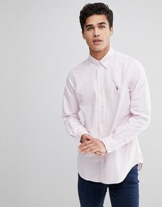 Read more about Polo ralph lauren stripe oxford shirt button down collar custom regular fit multi player in pink - r