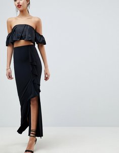 Read more about Asos design slinky maxi skirt with split and front ruffle - black