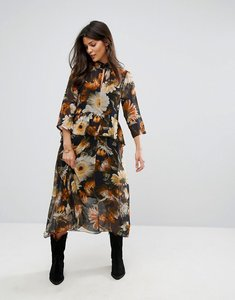 Read more about Gestuz long flower print dress - multi black flower