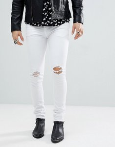 Read more about Noose monkey super skinny distressed jeans in white with raw hem - white