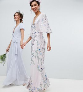 Read more about Maya premium floral embellished wrap front maxi dress in multi colour - multi