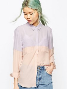 Read more about Asos tall colour block blouse - lilac pink
