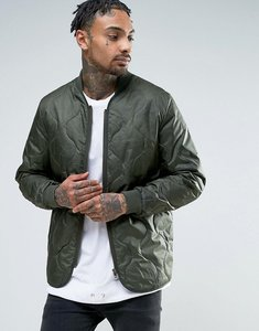Read more about Asos quilted bomber jacket in khaki - khaki
