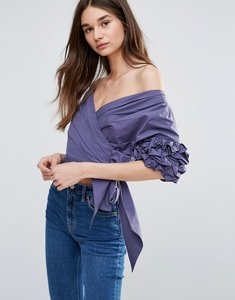 Read more about Current air ruffle sleeve crop top - dusty navy