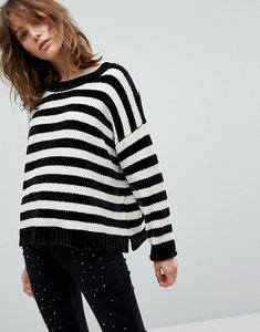Read more about Stradivarius stripe slouchy chenille jumper - multi