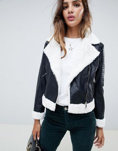 Read more about Parisian faux leather aviator jacket - black