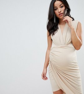 Read more about Queen bee sleeveless wrap front mini dress in nude - nude