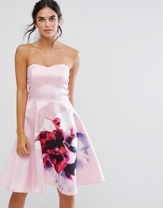 Read more about City goddess bandeau skater dress with placement floral print - rose