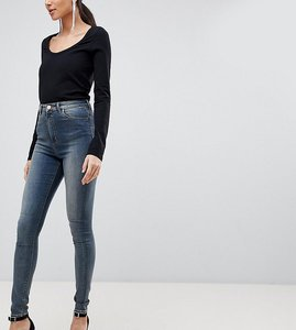 Read more about Asos design tall ridley high waist skinny jeans in linka vintage blue wash - mid wash blue