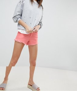 Read more about Vero moda distressed frayed denim shorts - pink