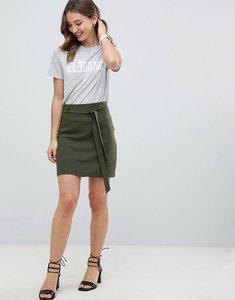 Read more about Asos design tailored obi tie mini skirt - khaki
