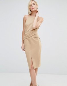 Read more about Lavish alice wrap front plunge back detail midi dress - light camel