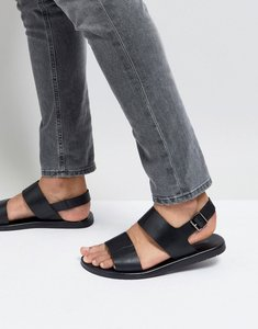 Read more about Silver street double strap sandals in black leather - black