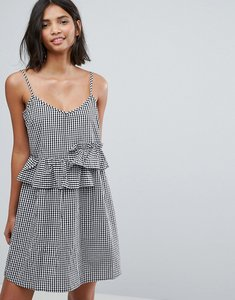 Read more about Lost ink mini dress with frills in gingham - black