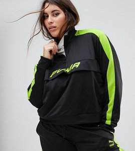 Read more about Puma exclusive to asos plus track jacket in black and neon green - black