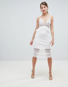 Read more about French connection strappy lace midi dress - nude