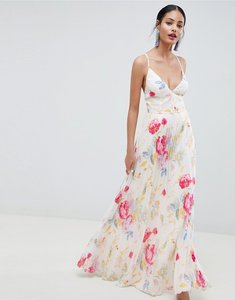 Read more about Asos design pleated maxi dress in rose floral print - floral print