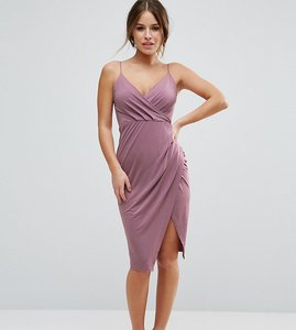 Read more about Asos petite slinky midi dress with wrap skirt - lilac